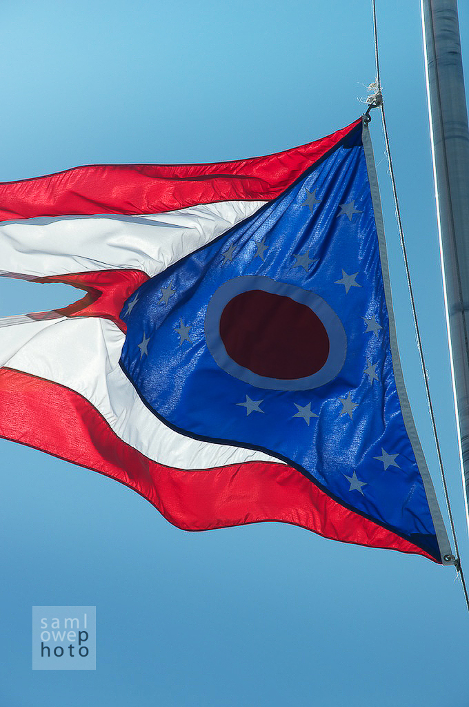 Flag of Ohio. Swallow tail and all.